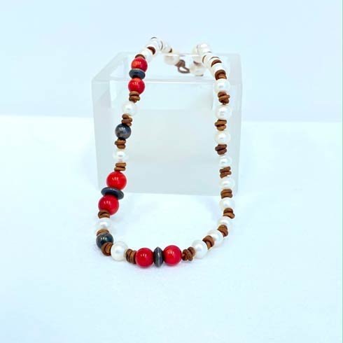 $152.00 Red Beads with Sterling Silver Navajo Pearls and Pearl Necklace