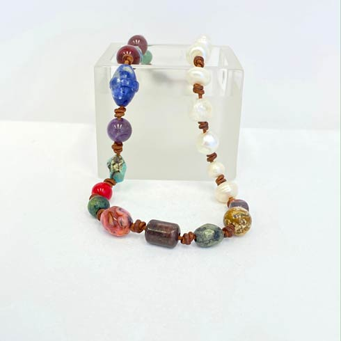 $154.00 Multicolored Beads and Pearl Choker