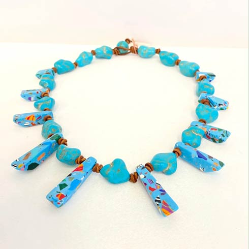 $162.00 Turquoise with Bursts of Color Choker