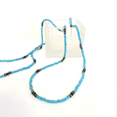 $190.00 African Beads and Sterling Silver Navajo Pearl Necklace