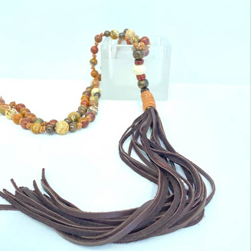 $228.00 Brown Beads and Tassel Necklace