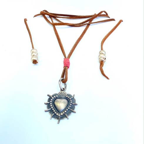 $158.00 Leather with Sterling Silver Heart Necklace