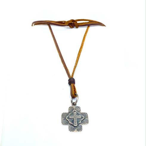 $158.00 Leather with Sterling Silver Cross Necklace