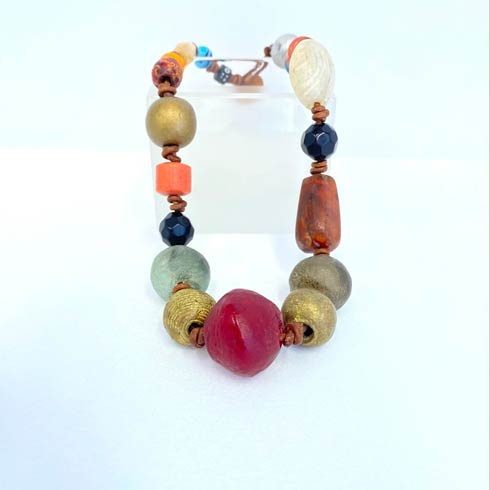 $188.00 African Beads with Gold Spacers Necklace