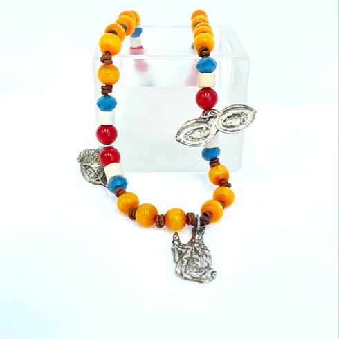 $140.00 Amber Beads with Pops of Color and Milagro Charm Necklace