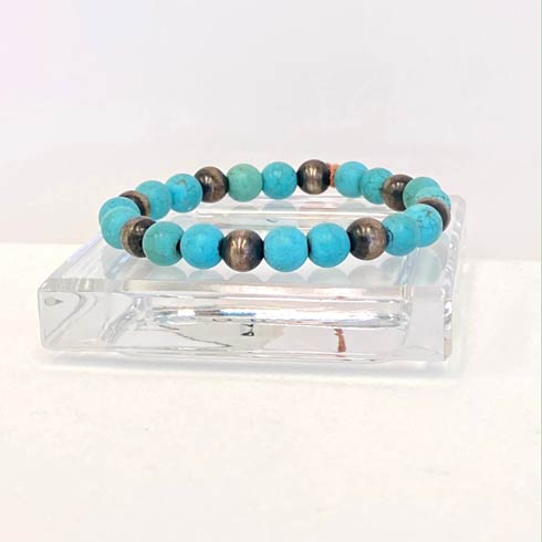 $88.00 Turquoise and Sterling Silver Navajo Pearl Bracelet