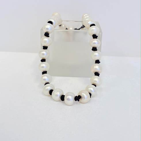$198.00 Large Pearl on Black Leather Choker