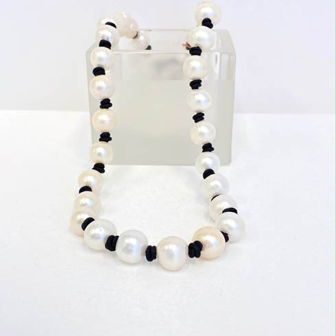 $178.00 Classic Large Pearl on Black Leather Necklace