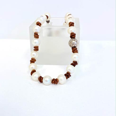$218.00 Pearl with Sterling Silver Hammered Bead Necklace