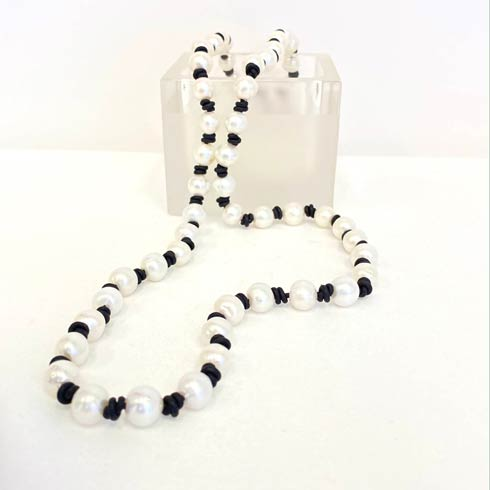 $178.00 Classic Pearl on Black Leather Necklace