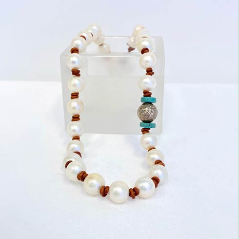 $188.00 Pearl, Sterling Silver Hammered Bead and Turquoise Necklace