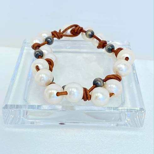 $64.00 Pearl and Navajo Pearl Weaved Bracelet