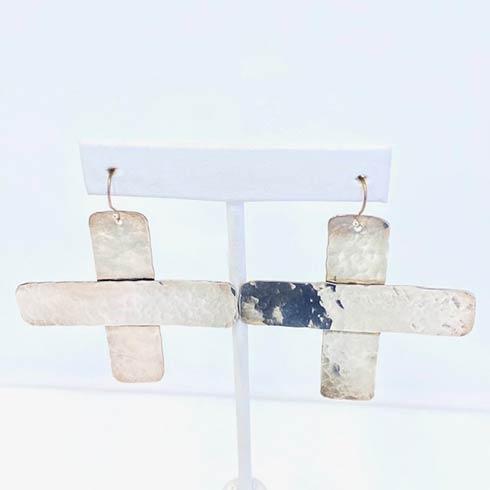 $258.00 Sterling Silver Cross Earrings, Large