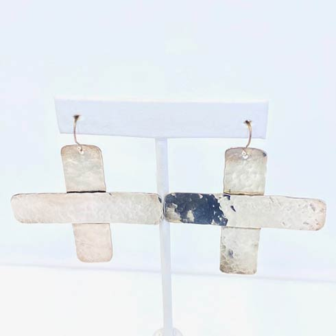 $258.00 Sterling Silver Cross Earrings, Large