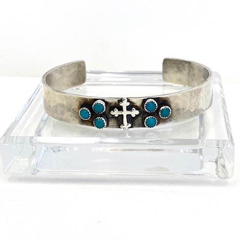 $228.00 Sterling Silver Cross & Turquoise Cuff Bracelet, 10mm