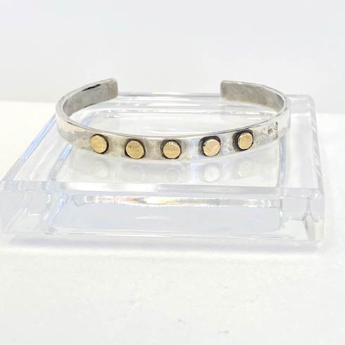 $358.00 Sterling Silver and 14k Gold Dots Cuff Bracelet, 6mm