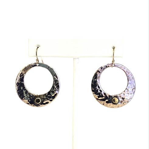 $178.00 Sterling Silver Open Circle with 14k Gold Dot Hoop Earrings