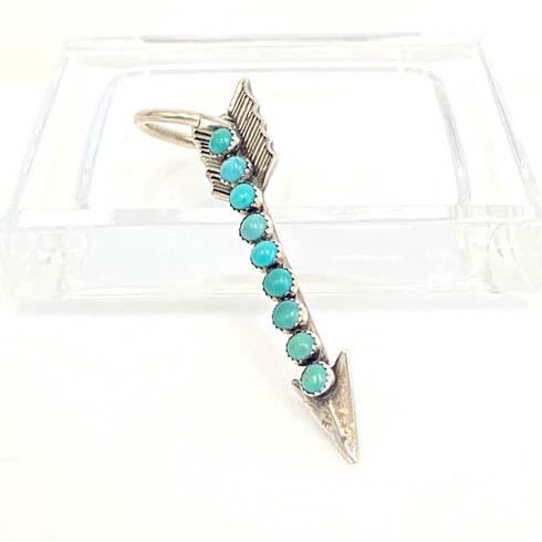 $168.00 Sterling Silver Arrow with 9 Turquoise Dots Pendant