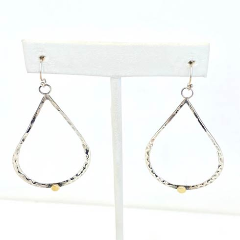 $168.00 Sterling Silver Open Drip with Gold Dot Earrings