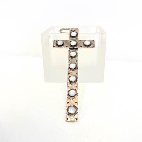 $368.00 Sterling Silver Cross with 9 Mother Of Pearl Dots Pendant