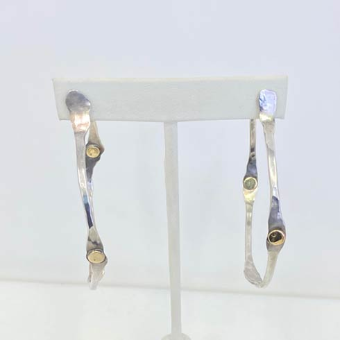 $418.00 Sterling Silver Large Hoop with Gold Dot Earrings