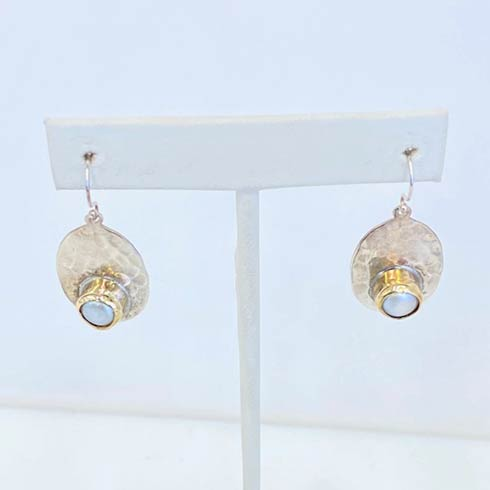$298.00 Sterling Silver with 14k Raised Bezel and Pearl Earrings