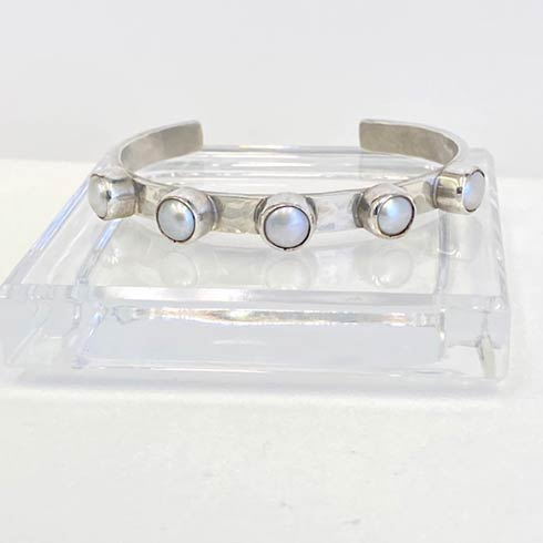$358.00 Sterling Silver and Raised Bezel Pearl Cuff Bracelet, 8mm