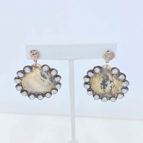 $398.00 Sterling Silver Scalloped Edged Circle Drop and Mother Of Pearl Earrings