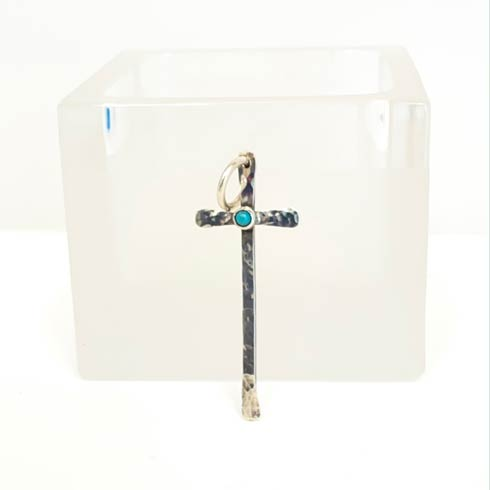 $128.00 Sterling Silver Matchstick Cross with Turquoise Pendant