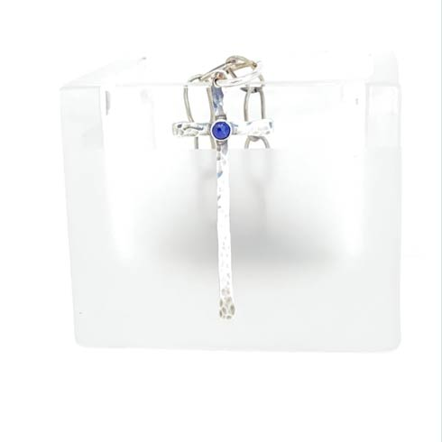 $128.00 Sterling Silver Matchstick Cross with Lapis Pendant
