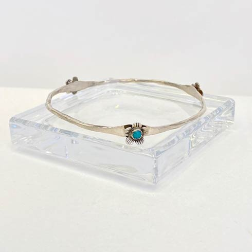 $138.00 Sterling Silver Flower and Turquoise Bangle