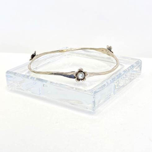 $138.00 Sterling Silver Flower and Mother Of Pearl Bangle