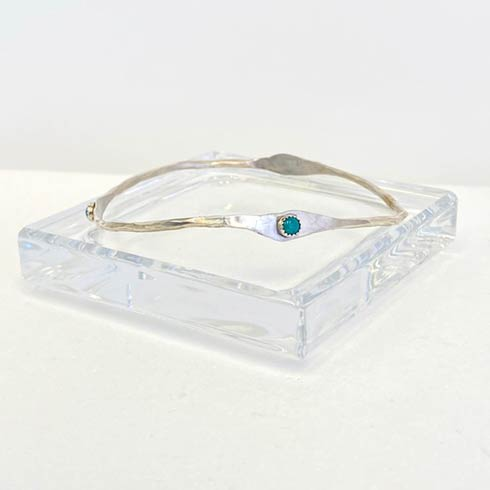 $98.00 Sterling Silver and Turquoise Dot Bangle