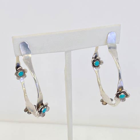 $278.00 Sterling Silver Flower and Turquoise Hoop Earrings