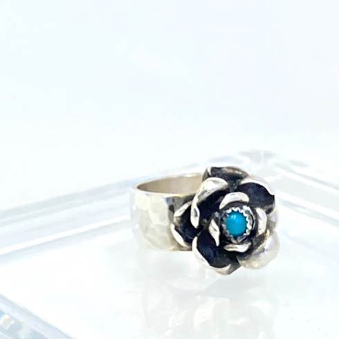 $130.00 Sterling Silver Rose with Turquoise Ring, Size 6.5