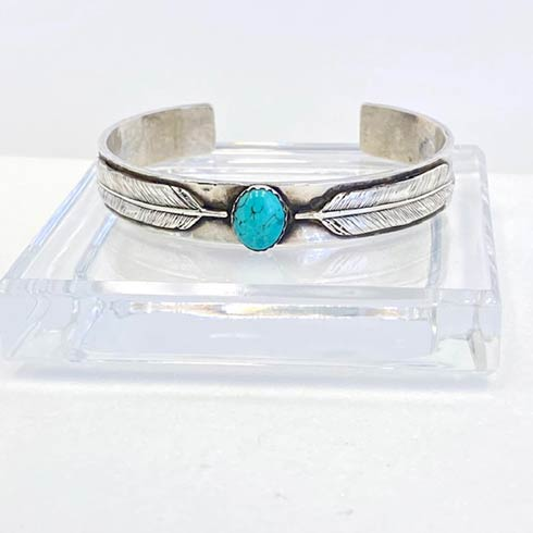 $250.00 Sterling Silver Feathers with Turquoise Cuff Bracelet, 10mm