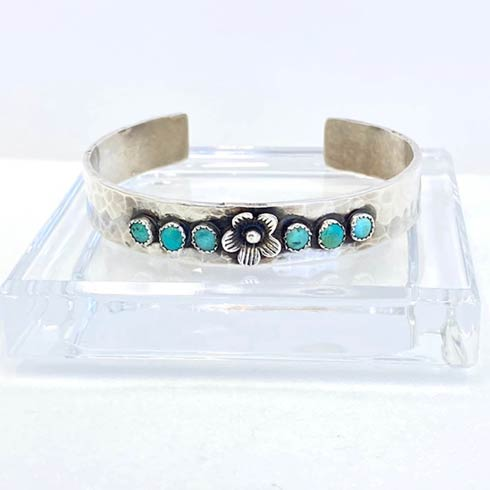 $225.00 Sterling Silver Flower with Turquoise Cuff Bracelet, 10mm