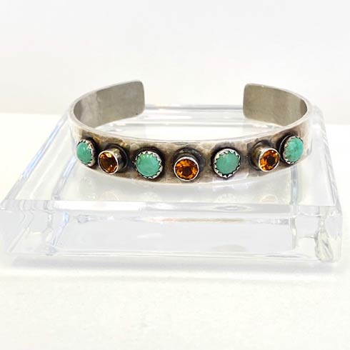 $328.00 Sterling Silver with Turquoise and Citrine Cuff Bracelet, 10mm