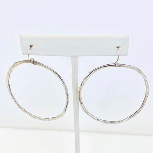$118.00 Sterling Silver Plain Open Face Hoop Earrings