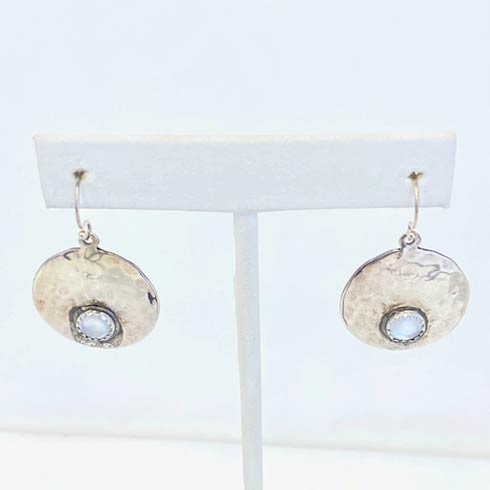 $98.00 Sterling Silver Small Round Disc with Mother Of Pearl Earrings