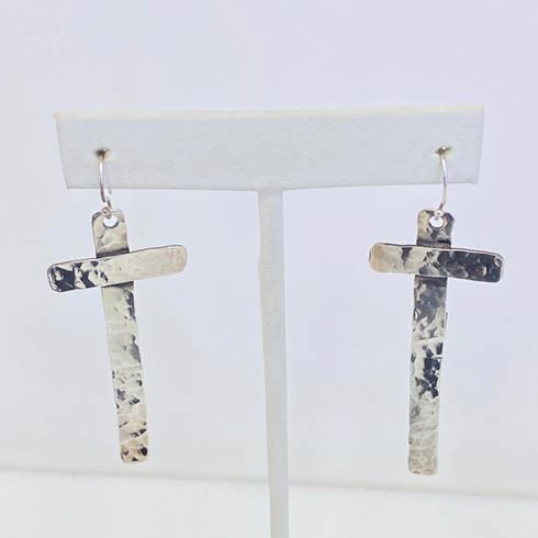 $138.00 Sterling Silver Hammered Cross Earrings
