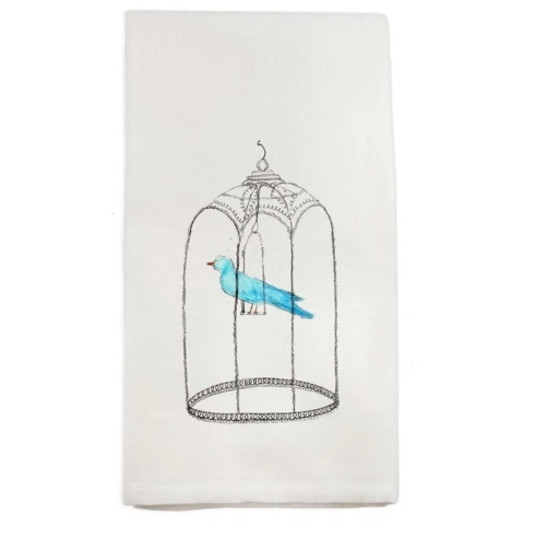 $16.00 Bird in Cage Dish Towel