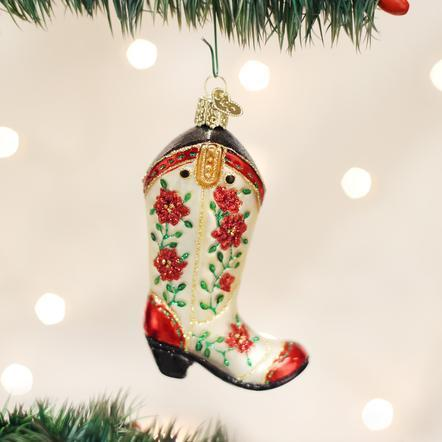$19.99 Christmas Cowgirl Boot Ornament
