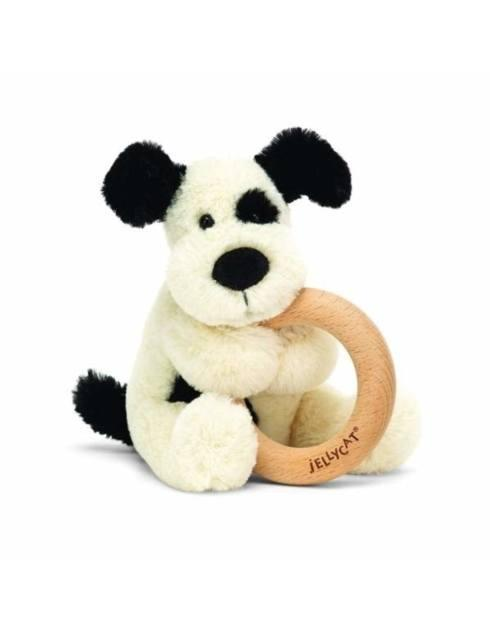 $22.50 Bashful Black and Cream Puppy Wooden Ring Toy