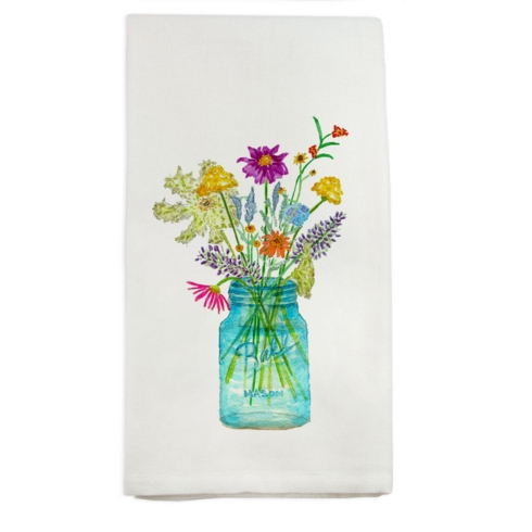 $16.00 Wildflowers in Mason Jar Towel