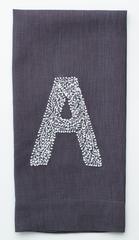 $35.00 Monogram Twig Hand Towel,  Charcoal Linen