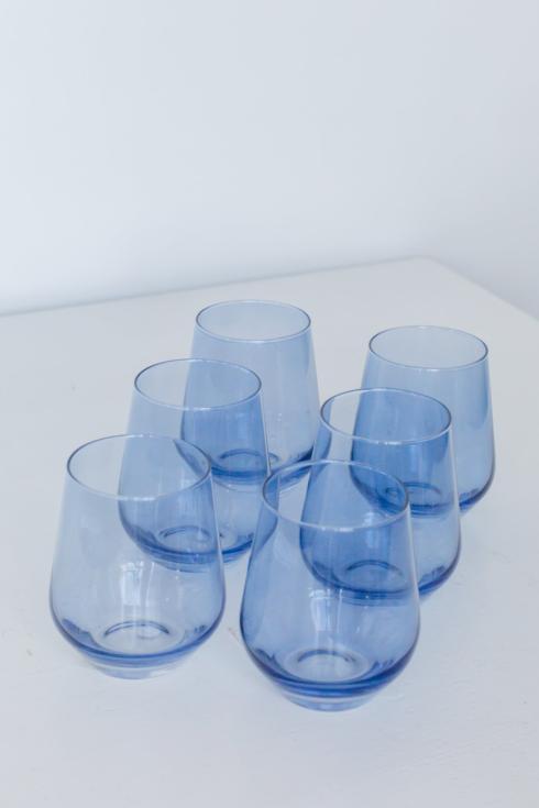 $160.00 Stemless wine cobalt blue set of 6