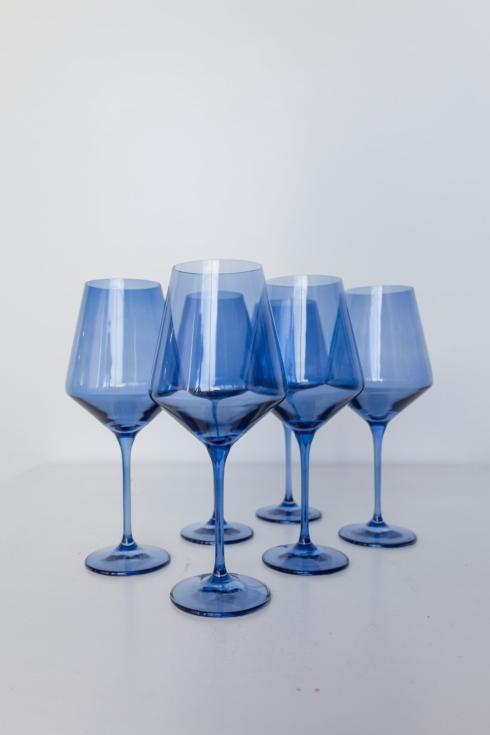 $175.00 Stemware wine cobalt blue set of 6