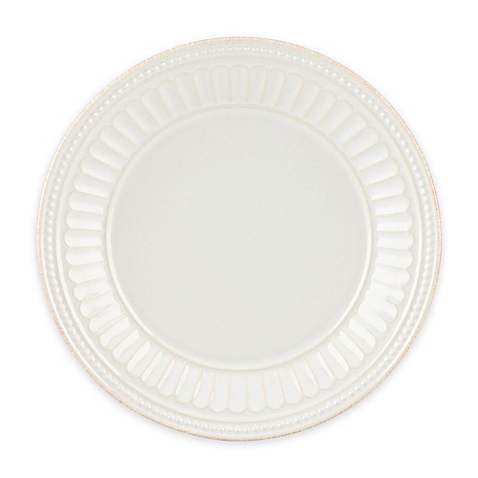 French Perle Groove White dinner plate collection with 1 products