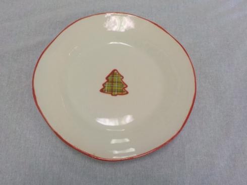 Tartan Christmas salad plate with tree